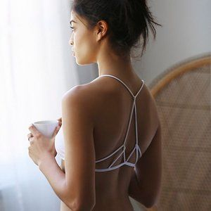 New FREE PEOPLE white prism strappy back bra